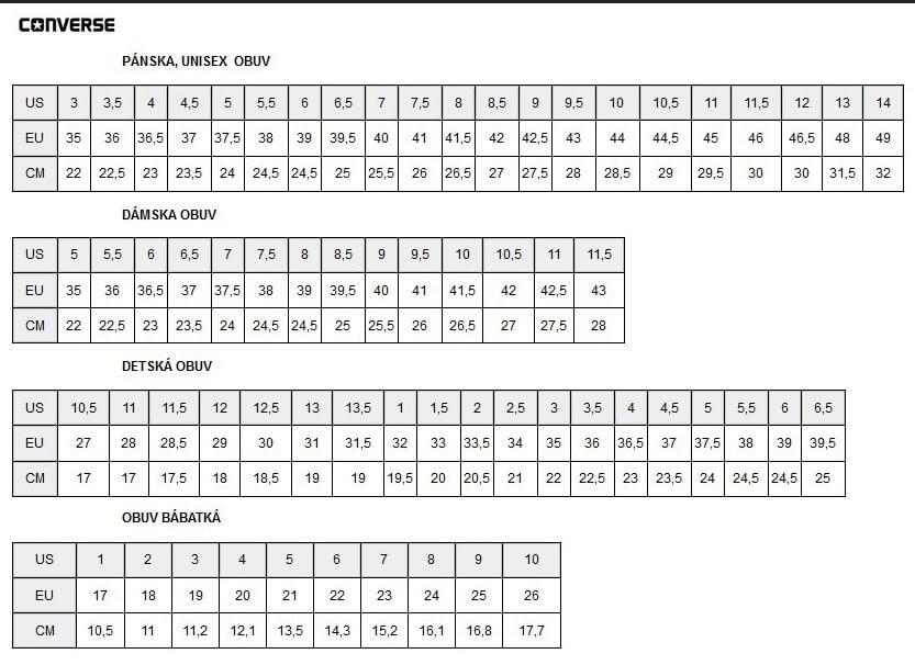 Converse veľkostná tabuľka