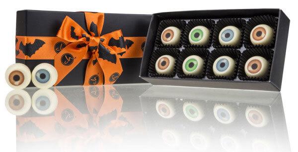 Halloweenske sladkosti v podobe čokoládových očí