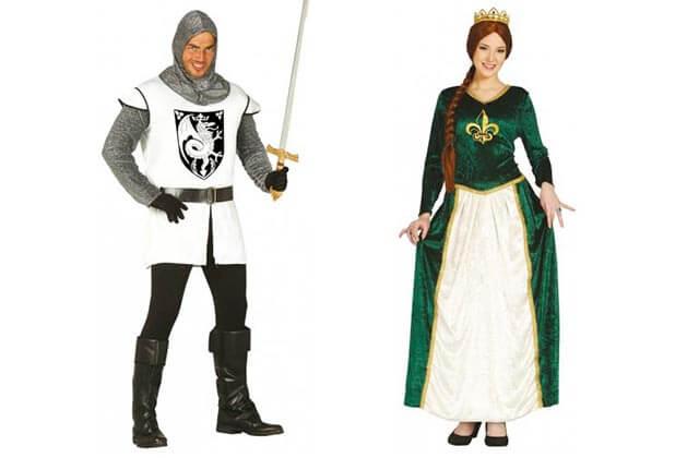 Karnevalové kostýmy pre páry, stredoveký rytier a princezná