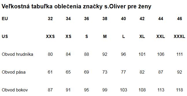 Veľkostná tabuľka oblečenia značky s.Oliver pre ženy