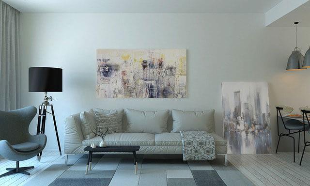 Abstraktný obraz v obývačke